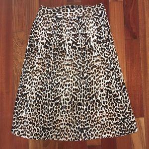 Express Leopard Print Pleated Skirt